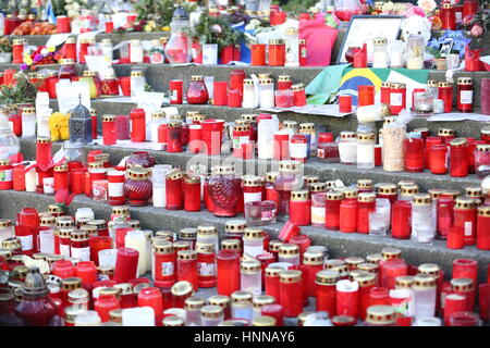 Berlin, Germany. 14th Feb, 2017. Flowers and candles for the victims of the attack on 19 December 2016 on the Breitscheidplatz - Stock Photo