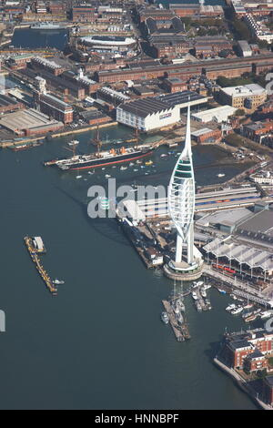 Aerial view Spinnaker Tower and HMS Warrior 1860 Tall Ship Gunwharf Quays Portsmouth Hampshire - Stock Photo