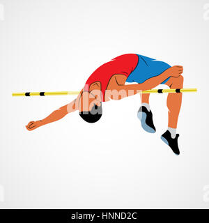 Abstract athlete jumps in height on a white background. Photo illustration. - Stock Photo