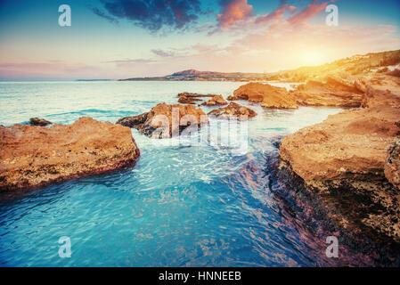 Scenic rocky coastline Cape Milazzo. Sicily, Italy - Stock Photo