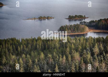 Scenery from Koli National Park (Kolin kansallispuisto) in Finland, North Karelia: Pielinen Lake in Koli National - Stock Photo
