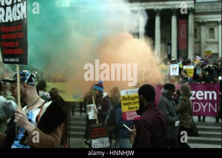 Activists Light Flares at the Anti Racism Demo in London - Stock Photo