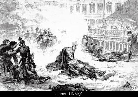 ALEXANDER II OF RUSSIA (1818-1881)  His assassination in St. Peresburg on 13 March 1881 drawn by Gustav Broling - Stock Photo
