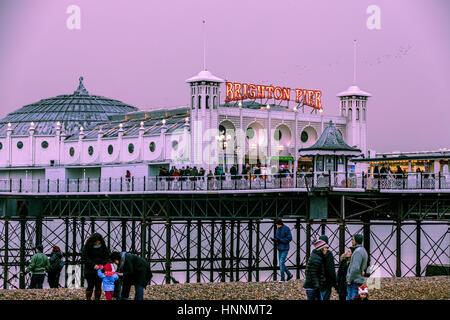 Winter twilight at Brighton Pier, Brighton UK - Stock Photo