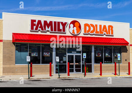 Indianapolis - Circa February 2017: Family Dollar Variety Store. Family Dollar is a Subsidiary of Dollar Tree I - Stock Photo