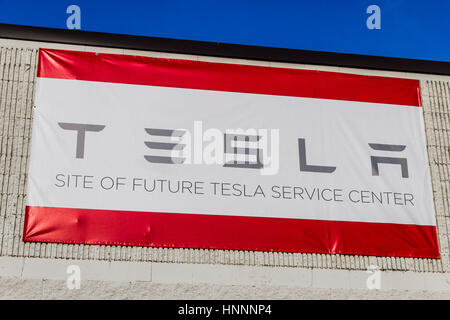 Indianapolis - Circa February 2017: Future Tesla Service Center. Tesla is a Technology and Design Company IV - Stock Photo