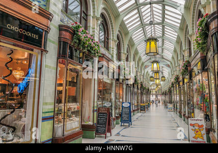 Norwich Royal Arcade that runs from the market place towards the Castle and was designed by architect George Skipper - Stock Photo