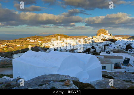 Chora village on Amorgos island early in the morning. - Stock Photo