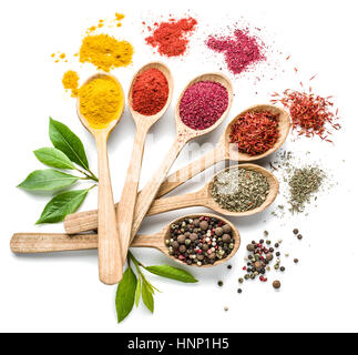 Assortment of colorful spices in the wooden spoons on the white background. - Stock Photo