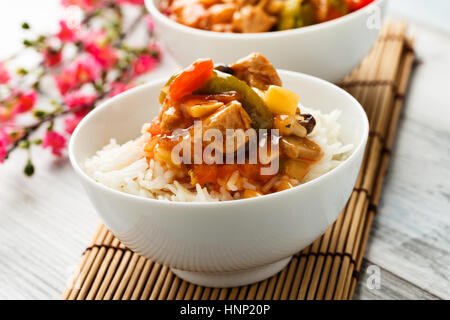 rice with sweet and sour vegetables and soy chunks - Stock Photo
