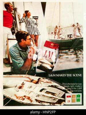 1960s cigarette advertisement in a magazine - Stock Photo
