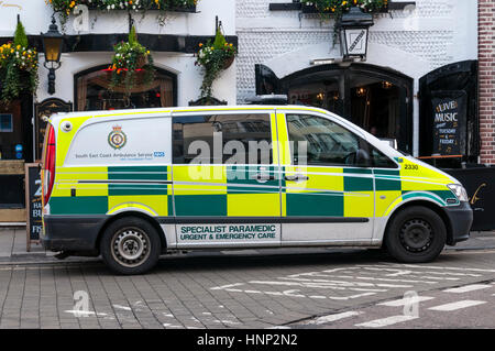 Logo and name of South East Coast Ambulance Service NHS Foundation Trust on the side of a paramedic ambulance parked - Stock Photo
