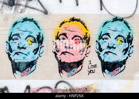 Part of a pop art pasteup graffiti of Bill Murray, by Minty in Brighton. Stock Photo