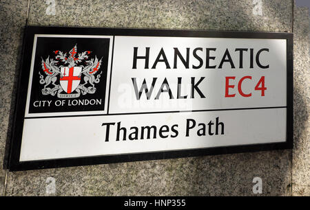 Hanseatic Walk EC4 City of London Corporation Thames Path street sign along the River Thames in London UK  KATHY - Stock Photo