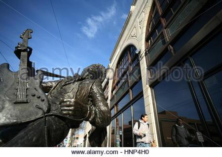 The Jimi Hendrix statue on Broadway in Seattle's Capitol Hill neighborhood. - Stock Photo