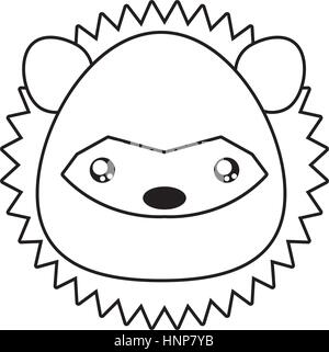 porcupine drawing face stock photo