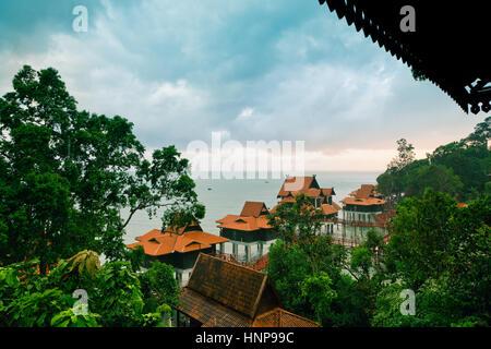 Luxury hotel bungalows on water, Langkawi Island, Malaysia - Stock Photo