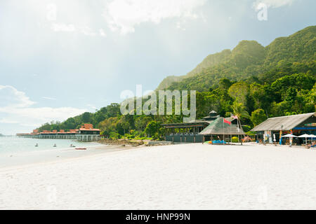 Private beach of the luxury hotel on Langkawi Island, Malaysia - Stock Photo