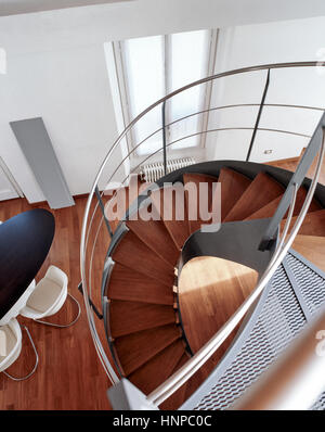 foreground the staircase in the modern living room - Stock Photo