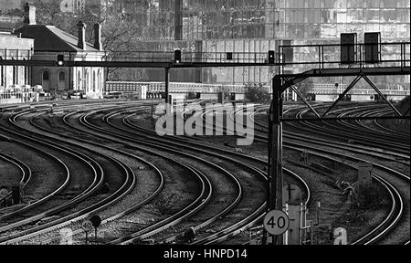 View of railway tracks on the approach to London Victoria Station. - Stock Photo