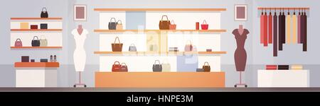 Big Fashion Shop Super Market Female Clothes Shopping Mall Interior Banner With Copy Space - Stock Photo