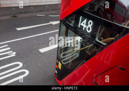 Aerial view of the rear of a number 148 red London Routemaster bus, on 15th February 2017, in London, United Kingdom. - Stock Photo