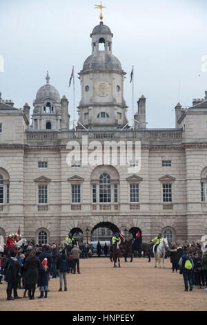 London, UK. 15th Feb, 2017. The queen's life guard is normally provided by men of the household cavalry mounted - Stock Photo
