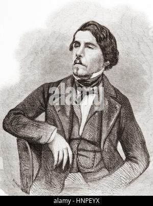 Ferdinand Victor Eugène Delacroix, 1798 –  1863. French Romantic school artist.  From L'Univers Illustre, published June 1863 Stock Photo