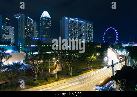Singapore - July 12: View from the roof of Esplanade to city center near Marina Bay, July 12, 2013. - Stock Photo