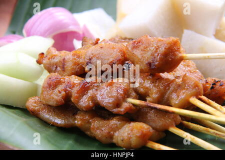 Chicken satay. Popular grilled food in Singapore and Malaysia, served with peanut sauce, rice cake, cucumber, and shallot.