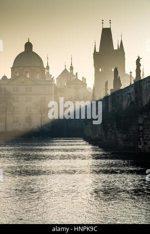 charles bridge over the Vltava river, Prague, Bohemia, Czech republic, Europe - Stock Photo