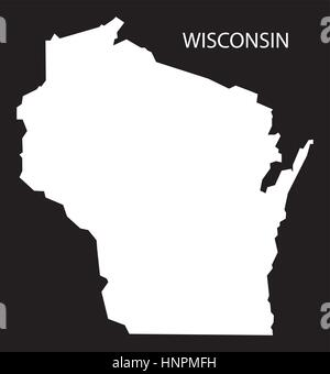 Wisconsin USA Map black inverted silhouette Stock Photo: 169711175 ...
