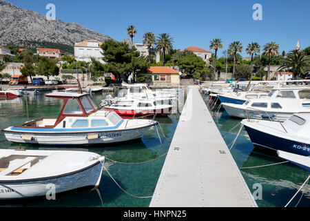 Motor boats moored in Marina Orebic, Orebic, Peljesac peninsula, Croatia - Stock Photo