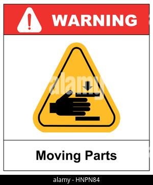 Set of danger Moving Parts signs in yellow triangle with hands, vector illustration warning banner - Stock Photo