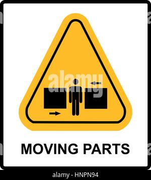 Set of danger Moving Parts signs in yellow triangle with man between two press, vector illustration warning banner - Stock Photo