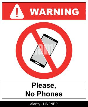 No cell phone sign. Mobile phone ringer volume mute sign. No smartphone allowed icon. No Calling label on white - Stock Photo