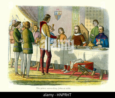 Edward the Black prince serving King John of France at table after having defeated him at the Battle of Poitiers - Stock Photo