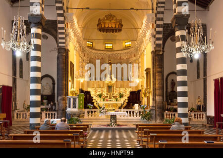 Interior of Chiesa di San Giovanni (b. 1244-1307), Monterosso al Mare, Liguria, Italy Stock Photo