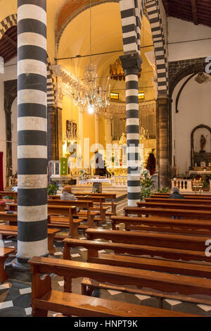 Interior of Chiesa di San Giovanni (b. 1244-1307), Monterosso al Mare, Liguria, Italy - Stock Photo