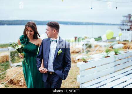 Portrait of a beautiful young drivers and bridesmaids. Wedding - Stock Photo