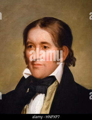 Davy Crockett (1786-1836), portrait by Chester Harding, oil on canvas, 1834. Davy Crockett, 'King of the Wild Frontier', - Stock Photo