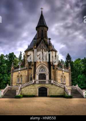 Schwarzenberg tomb with in horror style with mysterious sky - Stock Photo