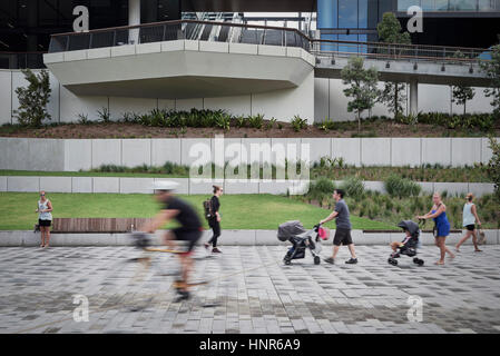 Pedestrian boulevard and landscaping in front of ICC buildings. International Convention Centre Sydney, Sydney, - Stock Photo