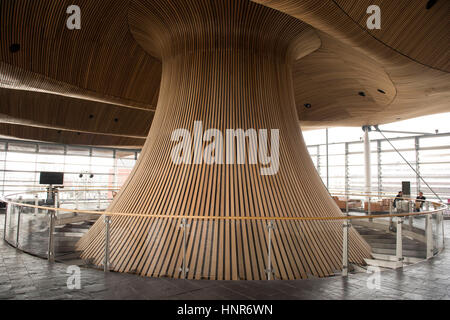 A general view of interior woodwork on the ceiling and funnel of the Senedd, home of the Welsh Assembly, in Cardiff - Stock Photo