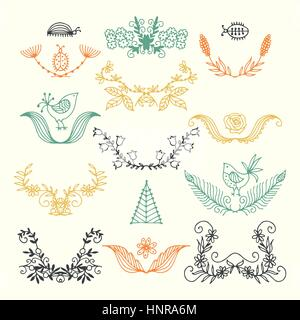 vector set of summer elements. painted by hand. flowers, leaves, beetles, birds. - Stock Photo