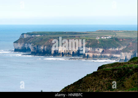 Bempton Cliffs looking south from the RSPB reserve area. - Stock Photo