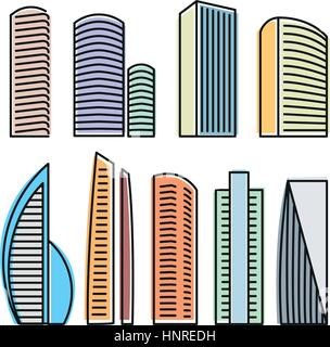 Isolated colorful skyscrapers in lineart style icons collection, elements of urban architectural buildings vector - Stock Photo
