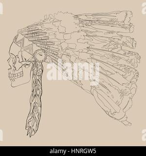 Vector illustration, hand drawing of a human skull in a headdress Indian chief - Stock Photo