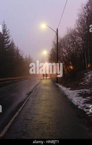 Two people walking down the road lit by the street lighting on a cold foggy winter evening in Holmenkollen area - Stock Photo