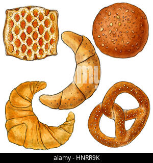 Bakery products  illustration, drawing, watercolour, paint, breakfast, food - Stock Photo